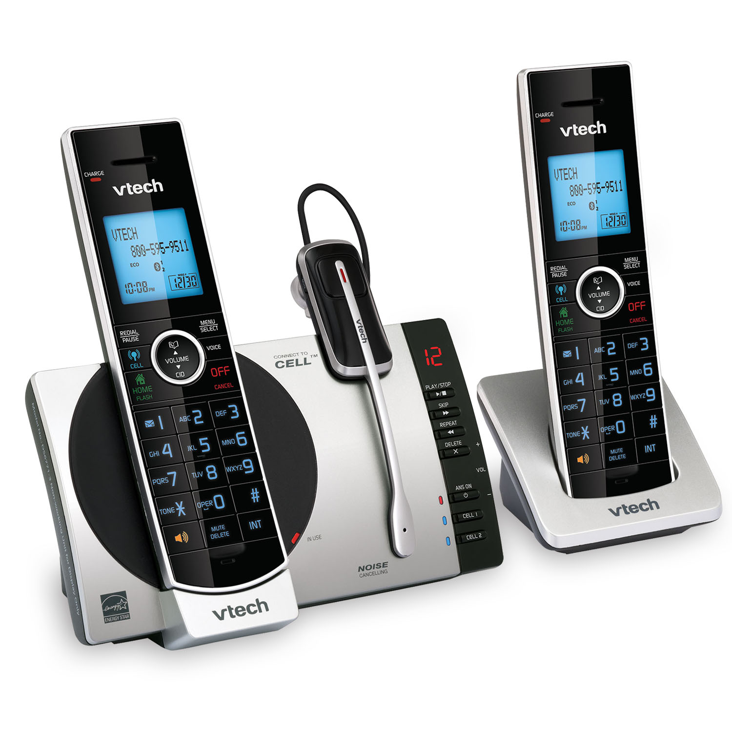 2 handset connect to cell answering system with cordless headset ds6771 3 vtech cordless. Black Bedroom Furniture Sets. Home Design Ideas