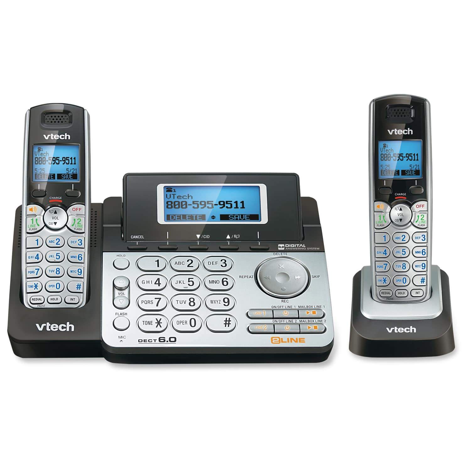 2 line 2 handset answering system with dual caller id call waiting ds6151 one ds6101 vtech. Black Bedroom Furniture Sets. Home Design Ideas