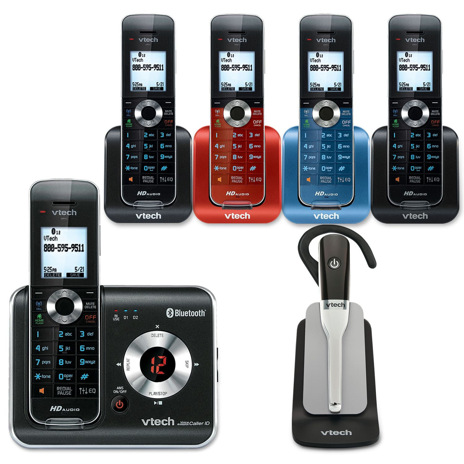 5 handset connect to cell answering system with cordless headset rh vtechphones com VTech InnoTab 2 Instruction Manual VTech DECT 6.0 User Manual