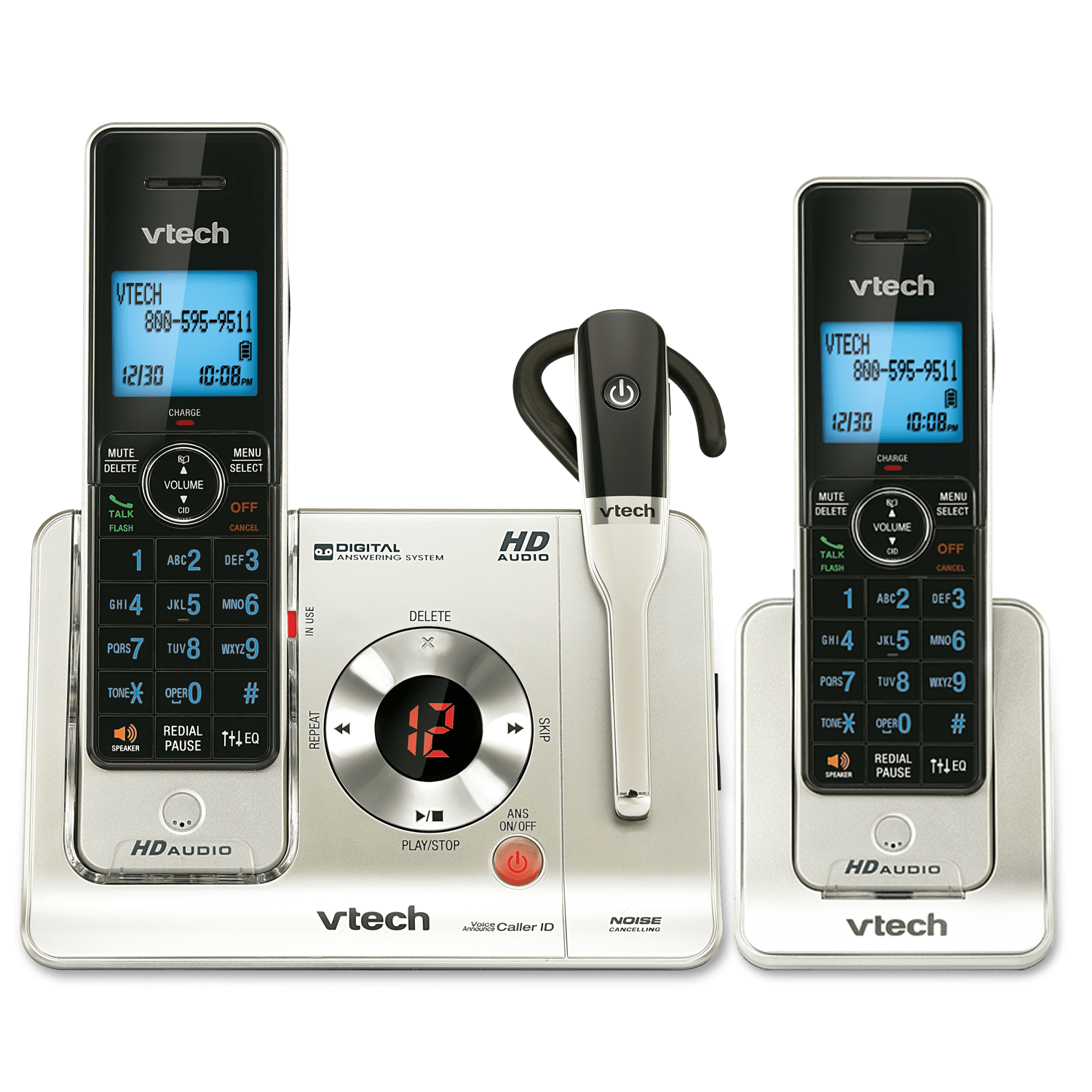 2 Handset Answering System With Cordless Headset