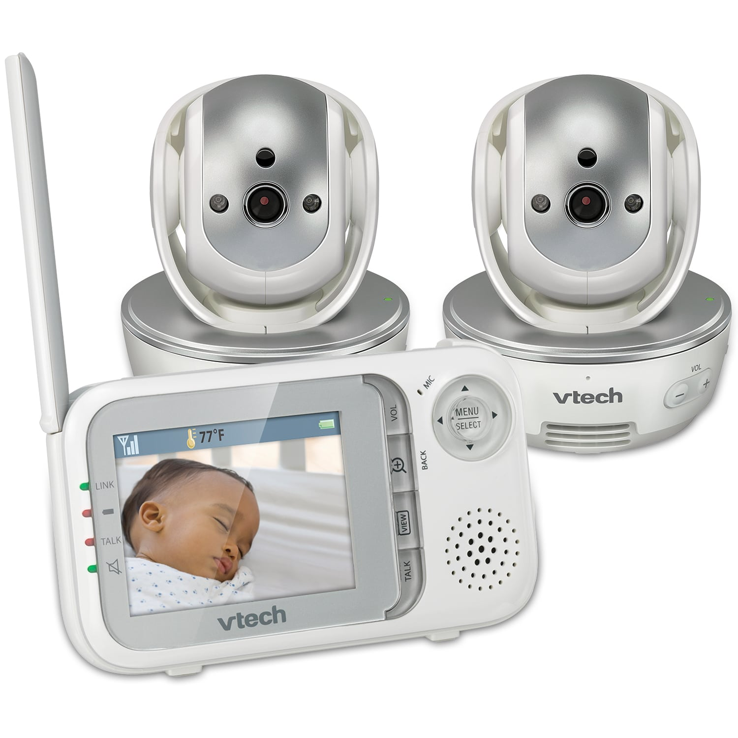 baby monitor video baby monitor with two cameras night vision pan tilt zoom and two way. Black Bedroom Furniture Sets. Home Design Ideas