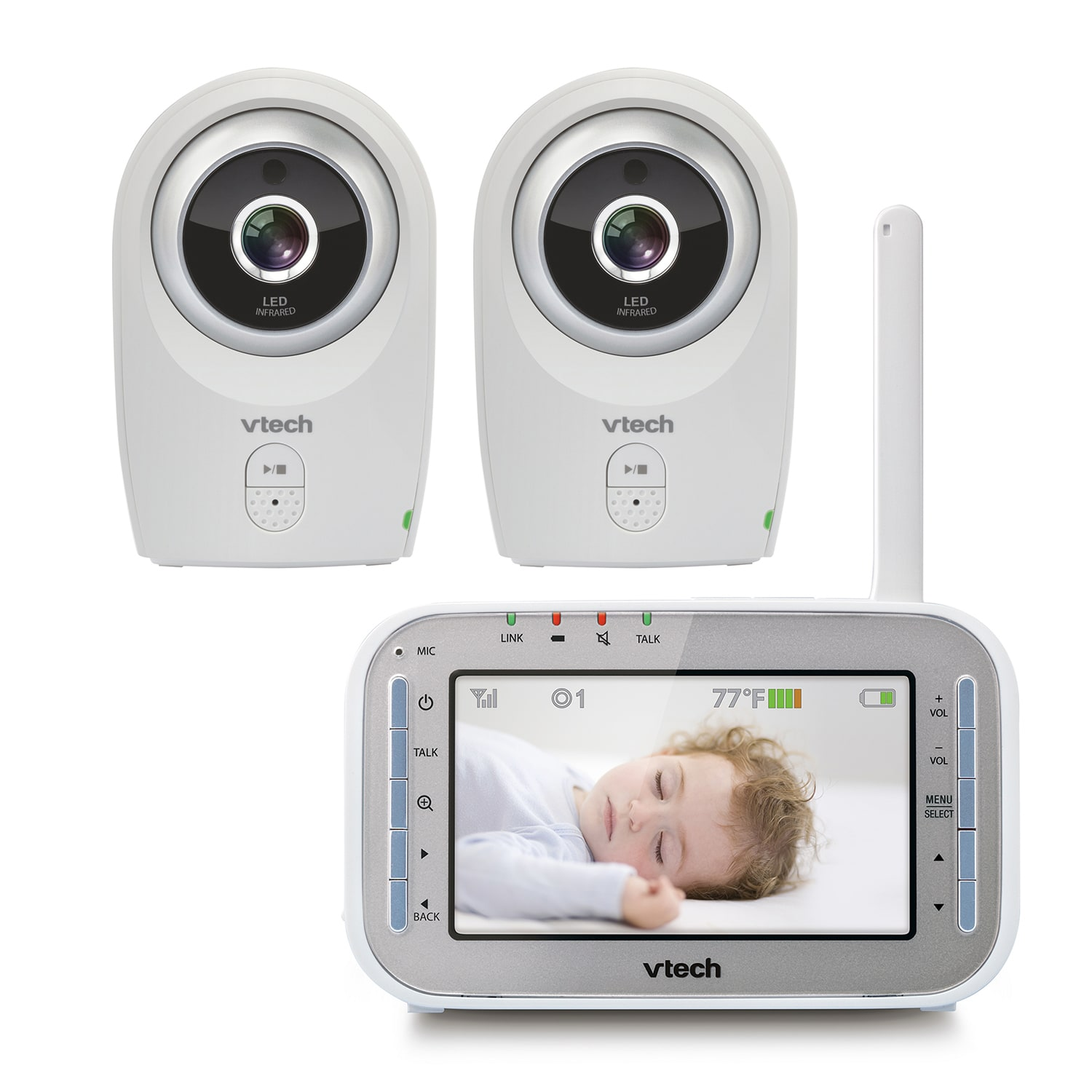 baby monitor full color video monitor with two cameras vm341 2 vtech cordless phones. Black Bedroom Furniture Sets. Home Design Ideas