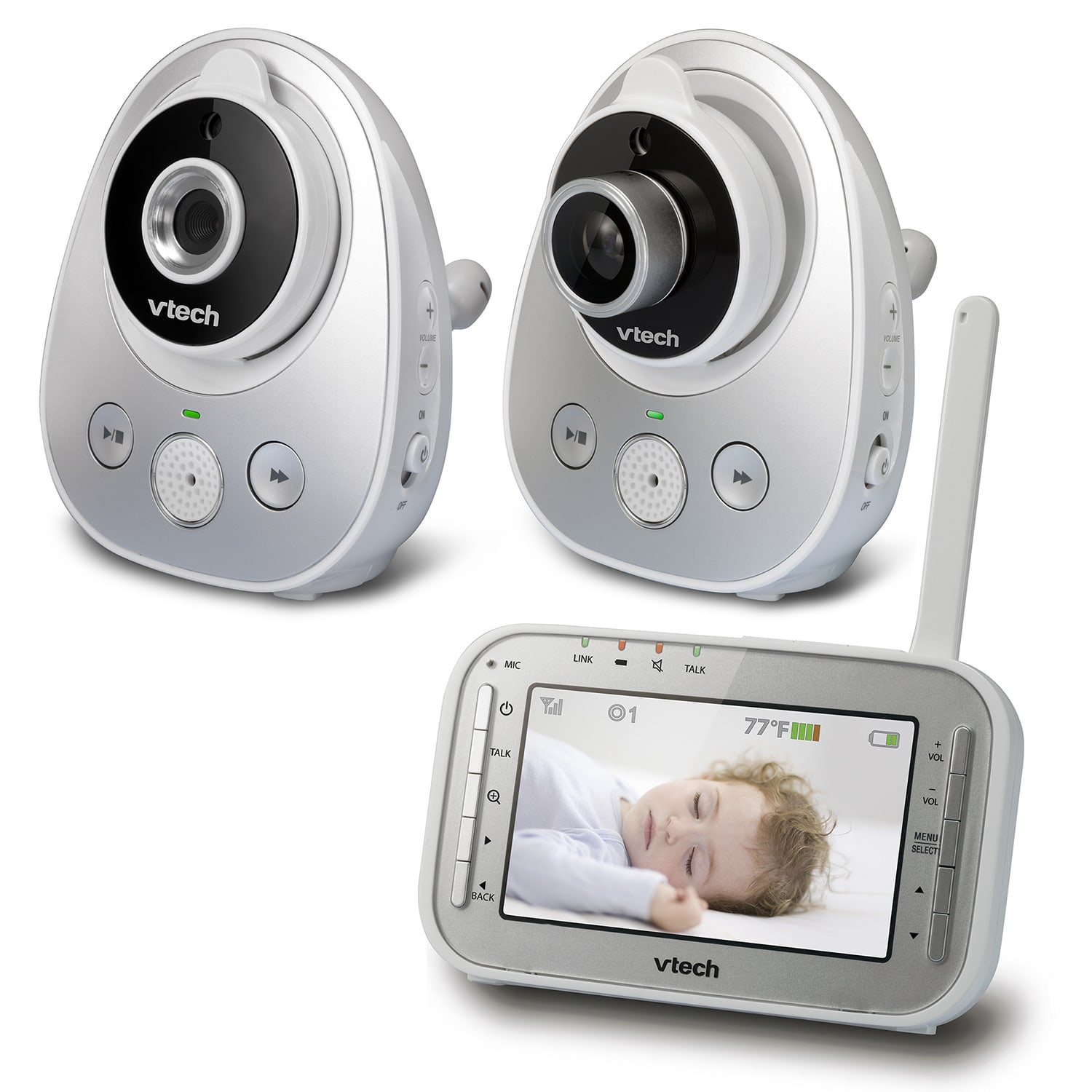 baby monitor 2 camera video monitor with wide angle lens and standard lens. Black Bedroom Furniture Sets. Home Design Ideas